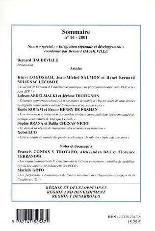 4eme INTÉGRATION RÉGIONALE ET DÉVELOPPEMENT
