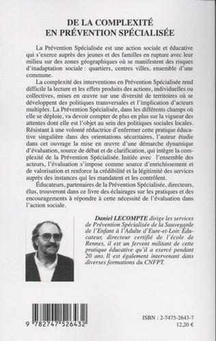 4eme DE LA COMPLEXITÉ EN PRÉVENTION SPÉCIALISÉE