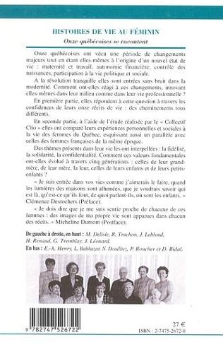 4eme HISTOIRES DE VIE AU FÉMININ PLURIEL