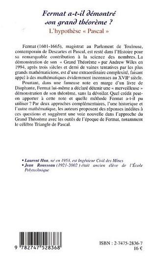 4eme FERMAT A-T-IL DÉMONTRÉ SON GRAND THÉORÈME ?