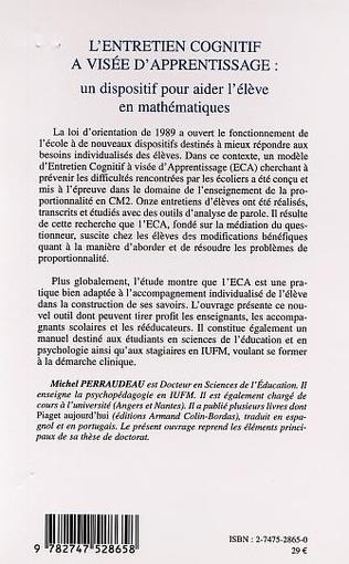 4eme L'ENTRETIEN COGNITIF À VISÉE D'APPRENTISSAGE :