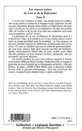 4eme LES ŒUVRES NOIRES DE L'ART ET DE LA LITTERATURE