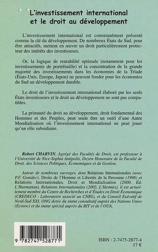 4eme L'INVESTISSEMENT INTERNATIONAL ET LE DROIT AU DÉVELOPPEMENT