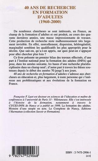 4eme 40 ANS DE RECHERCHE EN FORMATION D'ADULTES