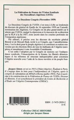 4eme LA FEDERATION DE FRANCE DE L'UNION SYNDICALE DES TRAVAILLEURS ALGERIENS (USTA)