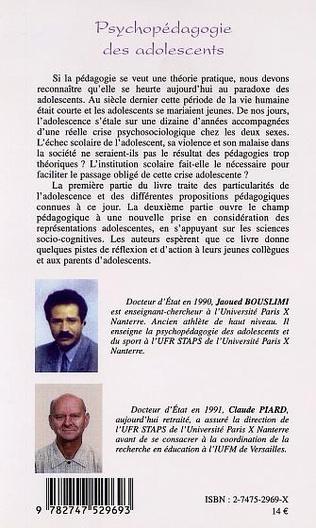 4eme PSYCHOPÉDAGOGIE DES ADOLESCENTS