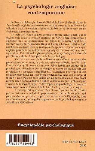 4eme LA PSYCHOLOGIE ANGLAISE CONTEMPORAINE