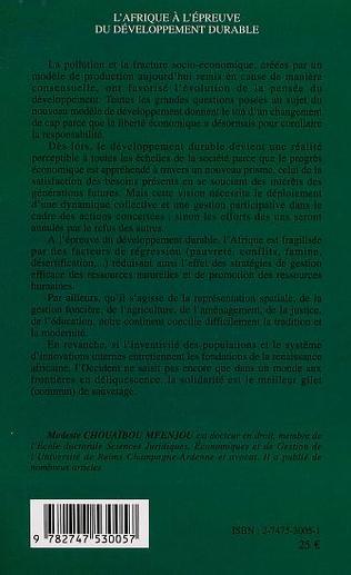 4eme L'AFRIQUE Á L'ÉPEUVE DU DÉVELOPPEMENT DURABLE
