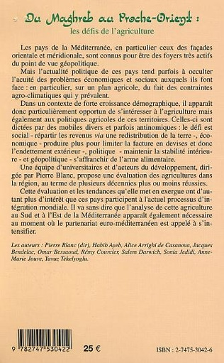 4eme DU MAGHREB AU PROCHE-ORIENT : les défis de l'agriculture