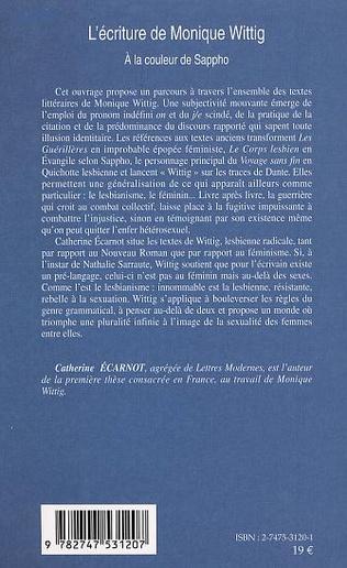 4eme L'ÉCRITURE DE MONIQUE WITTIG