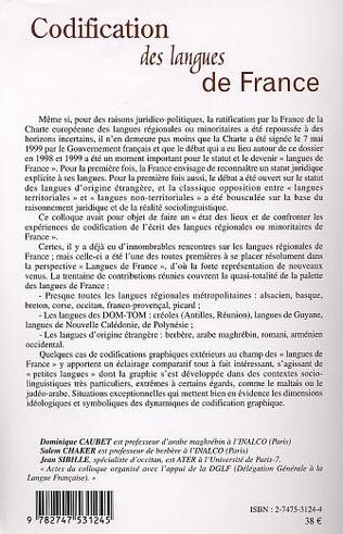 4eme Codification des langues de France