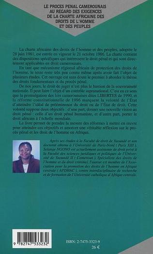 4eme LE PROCÈS PÉNAL CAMEROUNAIS AU REGARD DES EXIGENCES DE LA CH