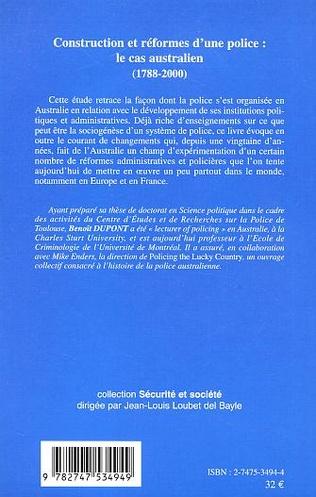 4eme CONSTRUCTION ET REFORMES D'UNE POLICE : LE CAS AUSTRALIEN (1788-2000)