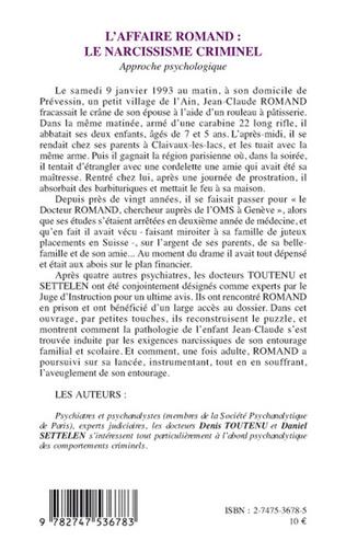 4eme AFFAIRE ROMAND - LE NARCISSISME CRIMINEL