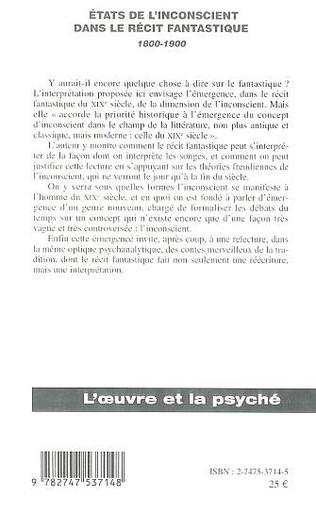 4eme ETATS DE L'INCONSCIENT DANS LE RECIT FANTASTIQUE 1800-1900