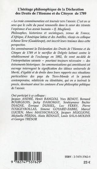 4eme L'HERITAGE PHILOSOPHIQUE DE LA DECLARATION DES DROITS DE L'HOMME ET DU CITOYEN DE 1789