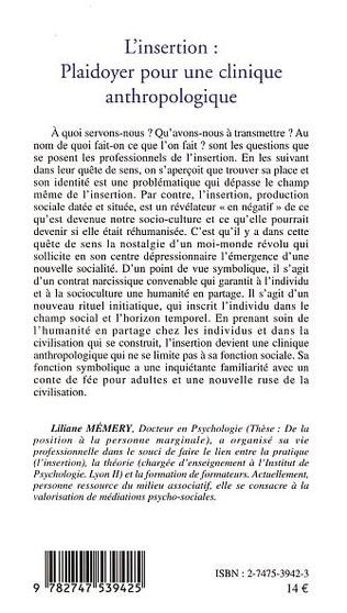 4eme L'INSERTION PLAIDOYER POUR UNE CLINIQUE ANTHROPOLOGIQUE