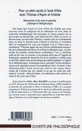 4eme POUR UN PLEIN ACCES A L'ACTE D'ETRE AVEC THOMAS D'AQUIN ET ARISTOTE
