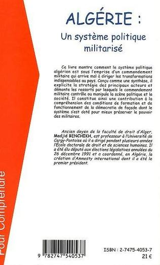 4eme ALGERIE UN SYSTEME POLITIQUE MILITARISE