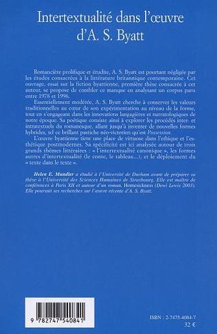 4eme Intertextualité dans l'œuvre d'A. S. Byatt