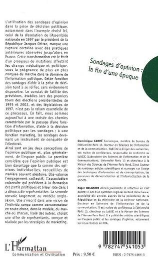 4eme Sondages d'opinion - La fin d'une époque