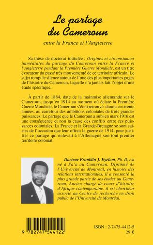 4eme Le partage du Cameroun entre la France et l'Angleterre
