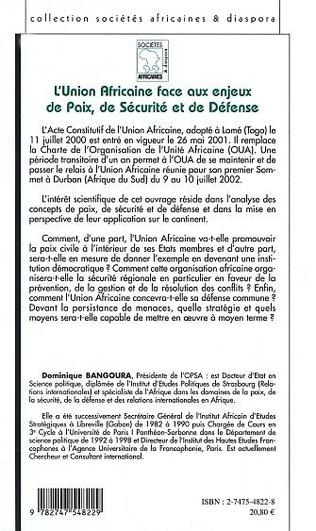 4eme Union Africaine face aux enjeux de Paix, de Sécurité et de Défense