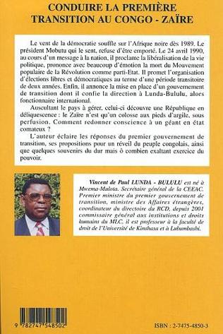 4eme Conduire la première transition au Congo-Zaïre