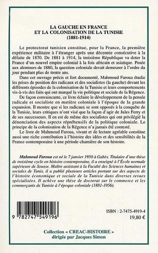 4eme La gauche en France et la colonisation de la Tunisie (1881-1914)