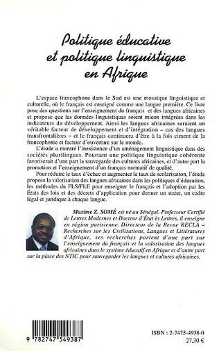 4eme Politique éducative et politique linguistique en Afrique