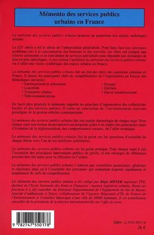 4eme Mémento des services publics urbains en France