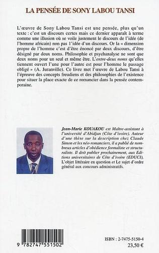 4eme La pensée de Sony Labou Tansi