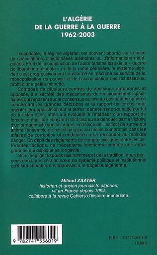 4eme L'Algérie de la Guerre à la Guerre (1962-2003)