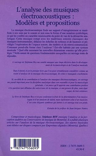 4eme L'Analyse des musiques électroacoustiques : Modèles et propositions