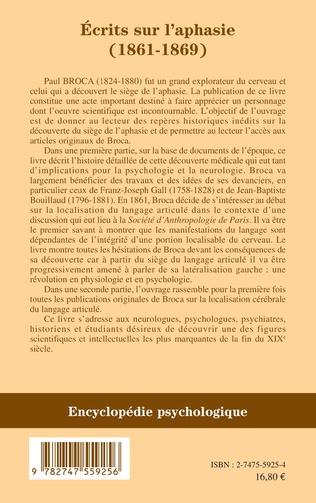 4eme Ecrits sur l'aphasie (1861-1869)