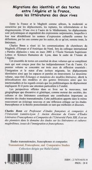4eme Migrations des identités et des textes entre l'Algérie et la France dans la littérature des deux rives