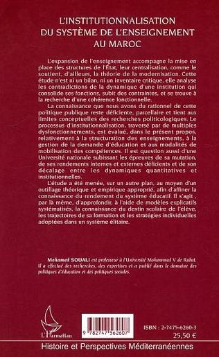 4eme L'institutionnalisation du système de l'enseignement au Maroc