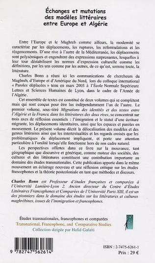 4eme Echanges et mutations des modèles littéraires entre Europe et Algérie