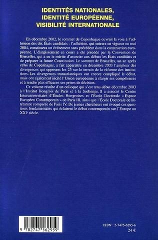 4eme Identités nationales, identité européenne, visibilité internationale