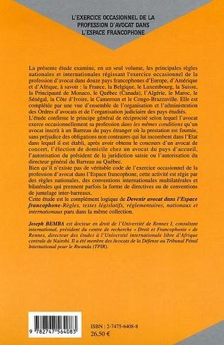 4eme L'exercice occasionnel de la profession d'avocat dans l'espace francophone