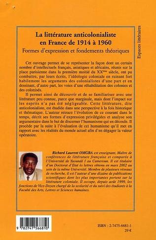 4eme La littérature anticolonialiste en France de 1914 à 1960