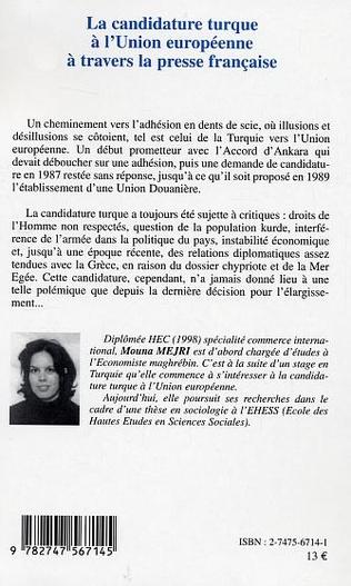 4eme La candidature turque à l'Union européenne à travers la presse française