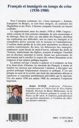 4eme Français et immigrés en temps de crise
