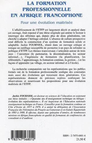 4eme La formation professionnelle en Afrique francophone