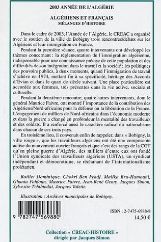 4eme Algériens et français mélanges d'histoire