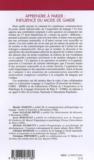 4eme L'ACCUEIL EXTRAFAMILIAL: STRUCTURES ET INFLUENCE SUR LE DEVELOPPEMENT DU LANGAGE