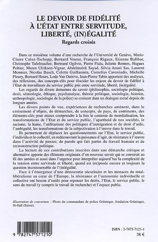4eme Le devoir de fidélité à l'Etat entre servitude, liberté, (in)égalité