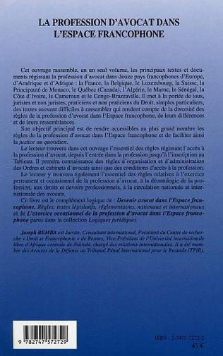 4eme La profession d'avocat dans l'espace francophone
