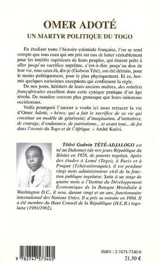 4eme Omer Adoté un martyr politique du Togo