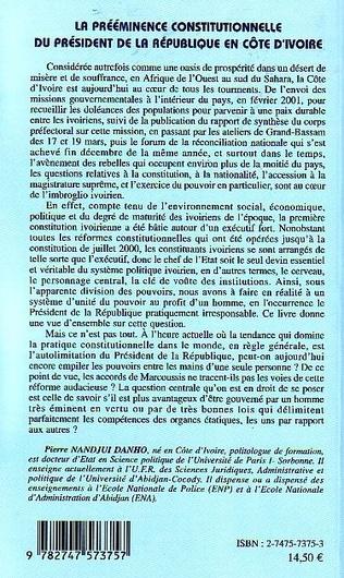 4eme La prééminence constitutionnelle du président de la République en Côte d'Ivoire